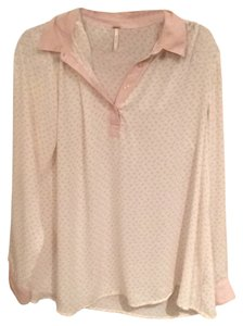 Free People Top White and baby pink