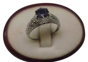 Incredible works of Art , 18k White Gold 2.00ct Genuine Blue Sapphire Filigree Ring, 1920s