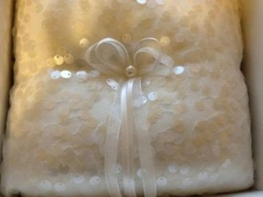 Celebrate It Occasions White/Ivory Cute Ring Bearer Pillow with Sequins and Bow