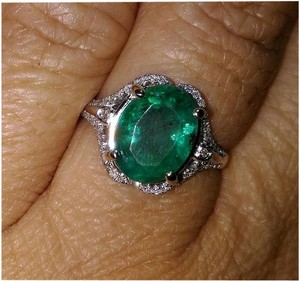 SALE**3.26ct NATURAL UNTREATED EMERALD&DIAMOND 14k GOLD RING