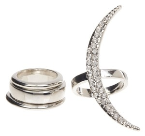 Bansri Bansri Swarovski Crystal Embellished Crescent Ring Set