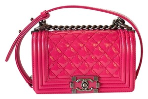 Chanel Le Boy Patent Leather Silver Hardware Pink Small Shoulder Bag