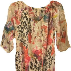 Cubism Embroidered Flowy Floral Top Multi