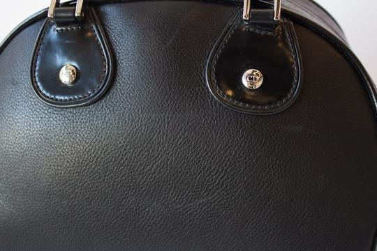Dior Bowling Ball Leather Silver Hardware Tote in Black