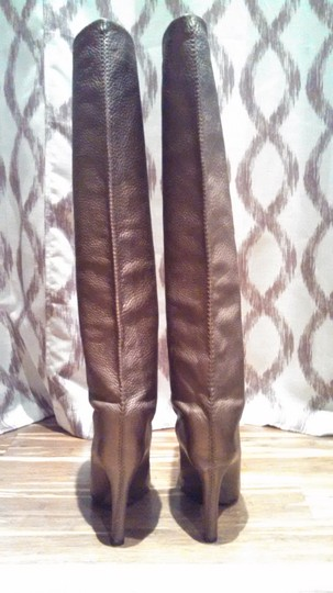 Fendi Leather Gold Stitching bronze/brown Boots