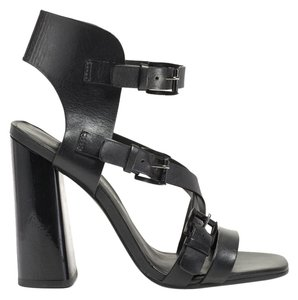 Rebecca Minkoff Heels Pumps Open Toe Ankle Strap Strappy Leather Buckled Chunky Heel Black Sandals