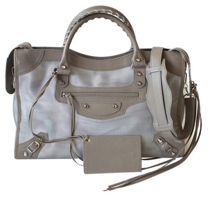 Balenciaga Silver Hardware Nylon Classic City Leather Satchel in Grey