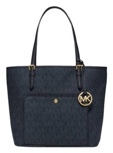 Michael Kors Jet Set Item Tote in Blatic Blue Gold tone