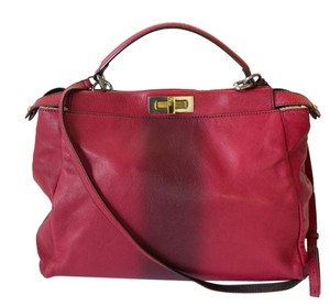 Fendi Pony Hair Peekaboo Large Tote Satchel in Red