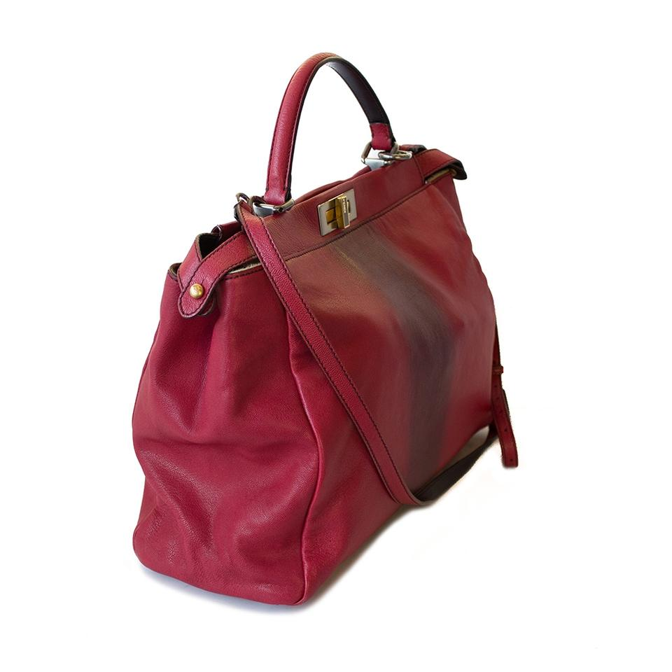 a1213fc6 Fendi Peekaboo Large W/ Red Calfskin Leather Pony Hair Interior Satchel