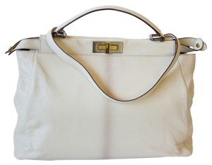 Fendi Peekaboo Zucca Calfskin Gold Hardware Shopping Tote Satchel in Cream White