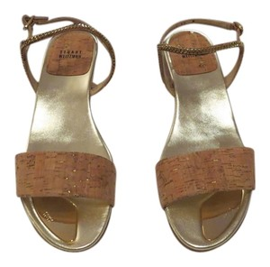 Stuart Weitzman Natural Accents Designed Wedge Heel Made In Spain Gold Nude Cork Sandals