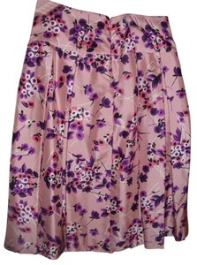 Express Pretty Ladylike Pleated Silk Skirt pink
