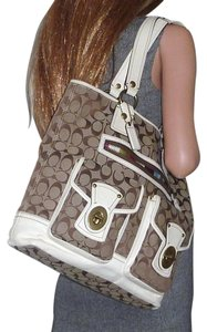 Coach Gigi Legacy Turn Lock 11144 65th Anniversary Tote in Khaki/Cream