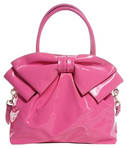 Valentino Bow Patent Leather Tote in Hot Pink