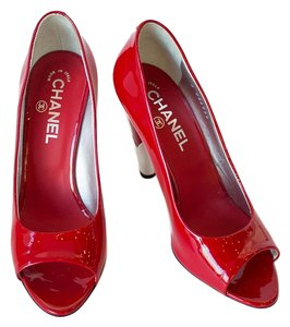 Chanel Rouge Patent Leather Heel Peep Tote Red Pumps
