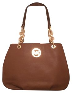 Michael Kors Leather Purse Handbag Tote Shoulder Satchel in Brown Gold