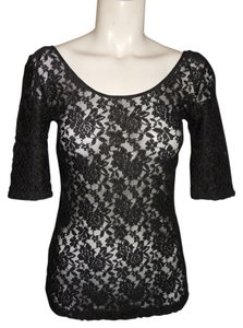 Banana Republic Blouse Lace Mesh Stretch Top black