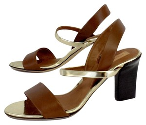 Reed Krakoff Brown Gold Leather Heels Sandals