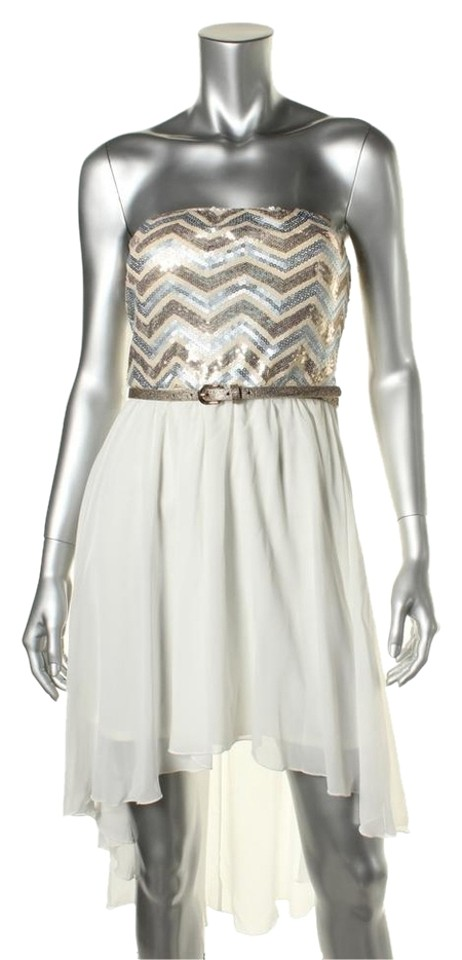 58ab95c20 As U Wish White Gold High-low Cocktail Dress Size 4 (S) - Tradesy