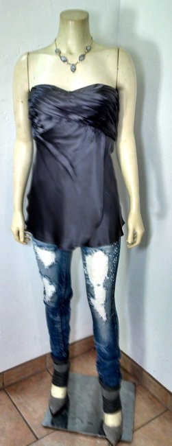 Banana Republic Size 12 Silk Top gray