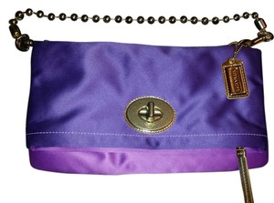 Coach Fabric Hardware Purple and Gold Clutch