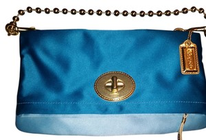 Coach Hardware / Fabric Blue / Teal and Gold Clutch
