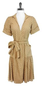 Diane von Furstenberg short dress Tan Eyelet Cotton on Tradesy