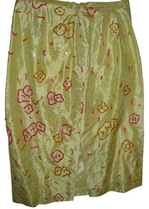 Barry Bricken Silk Colorful Skirt yellow