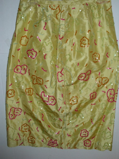 Barry Bricken Silk Colorful Embellished Rare Vintage Love Skirt yellow Image 2