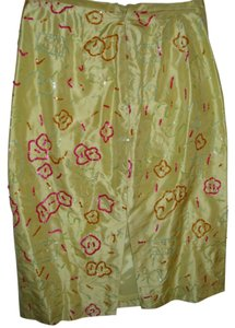 Barry Bricken Silk Colorful Embellished Rare Vintage Love Skirt yellow