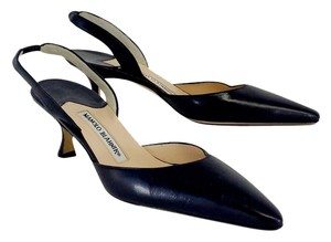 Manolo Blahnik Pointed Toe Slingback Heels Navy Sandals