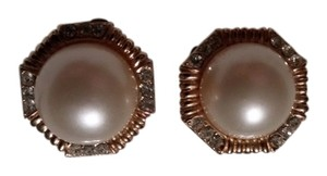 Other Ciner Faux Pearl & Rhinestone Clip On Earrings