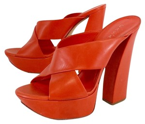 Casadei Orange Leather Platform Sandals
