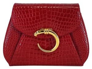 Florenza Red Patent Leather Snakeskin Clutch