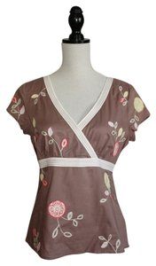 Boden Top Brown with Floral Appliques