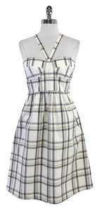 Tibi short dress White Grey Yellow Plaid Cotton on Tradesy