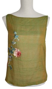 Vivienne Tam Top Green and Gold with Embroidered Flowers