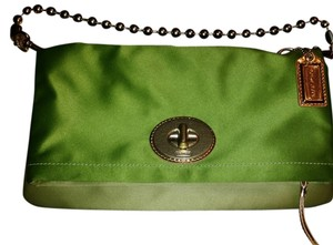 Coach Hardware / Fabric Green / Lime and Gold Clutch