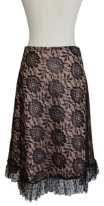 Corey Lynn Calter Skirt Black Lace over Nude Slip