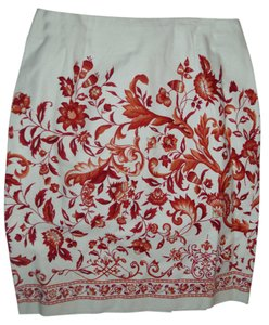 Talbots Rust Autumn Pencil Colorful Embroidered Skirt
