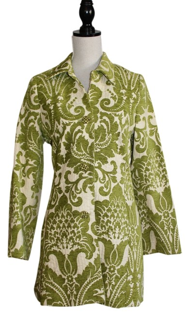 Item - Green Brocade with Rhinestone Buttons Jacket Size 8 (M)
