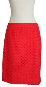 J.Crew Skirt Red Eyelet Pencil