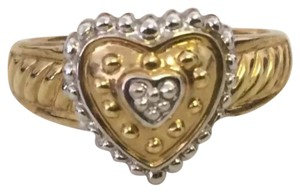 14k Two Tone Gold Beaded Heart Ring