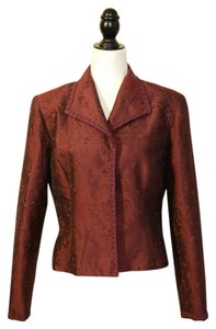 Kay Unger Embroidered Silk Burgundy Blazer