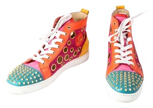 Christian Louboutin Calf Suede Bubble/Spike Milticolor/Gold Mens High Top Multicolor Athletic