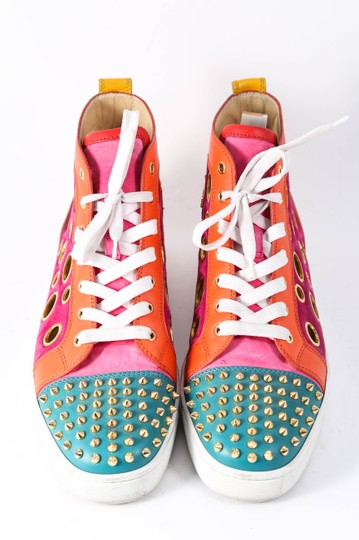 Christian Louboutin Calf Suede Bubble/Spike Milticolor/Gold Mens High Top Multicolor Athletic Image 1