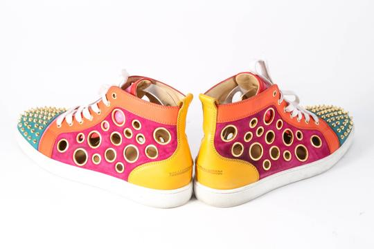 Christian Louboutin Calf Suede Bubble/Spike Milticolor/Gold Mens High Top Multicolor Athletic Image 3