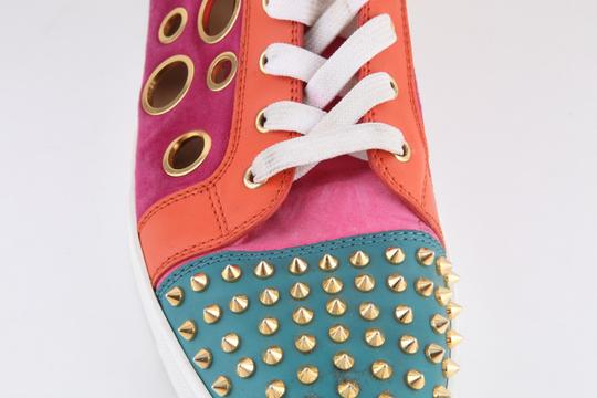 Christian Louboutin Calf Suede Bubble/Spike Milticolor/Gold Mens High Top Multicolor Athletic Image 6