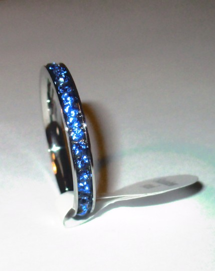 Blue Rhinestone Eternity Ring Stainless Steel Free Shipping